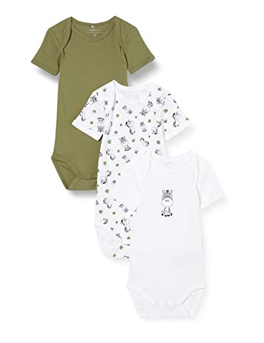 Name IT NOS baby-boys NBMBODY 3P SS LODEN GREEN ZEBRA NOOS Rompers, 80