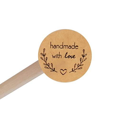 160pcs/lot Round Love garland handmade with love DIY decorative stickers Kraft paper white transparent Sealing Label Sticker