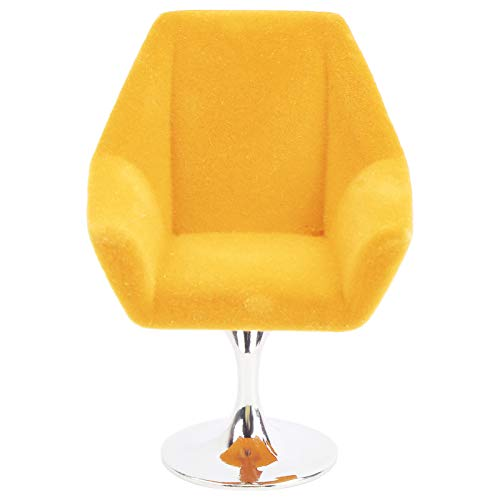Mini silla de sofá de casa de muñecas, 1:12 sillón en miniatura Casa de muñecas en miniatura Girar silla flocada Mini sofá flocado muebles modelo decoración accesorio de casa de muñecas(Amarillo)