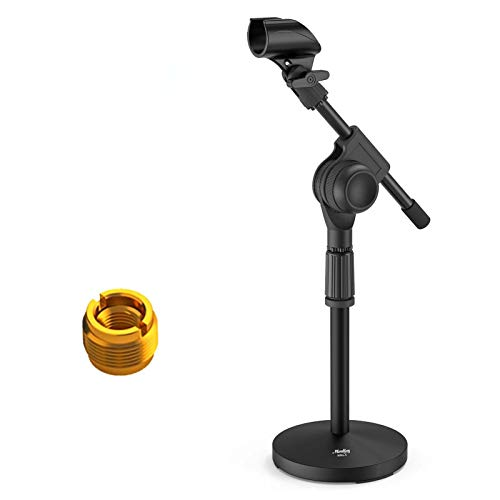 Moukey MMS-5 Adjustable Desk Mic Stand Desktop Tabletop Table Top Short Microphone Stand with Gear Fixing, Boom arm, 3/8' and 5/8' Adapter; Base Size - 5.5'' Diameter (Max bearing weight :1.1pounds)