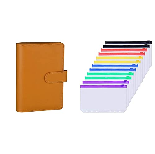 Antner A6 PU Leather Notebook Binder (Dark Yellow) Bundle   12 Pieces Multicolor Zipper A6 Binder Pockets