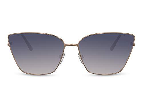 Cheapass Gafas de sol Sunglasses Fancy Vintage Gold Metal Cateye Sunnies para mujeres con lentes degradados morados con protección UV400