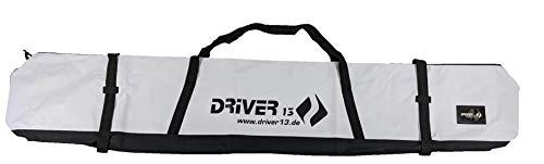 Driver13 ® Skitasche Skisack für Ski Skistoecke, Schitasche zum Aufbewahren und Transport beim Skifahren, Wasserfest 185 cm weiß