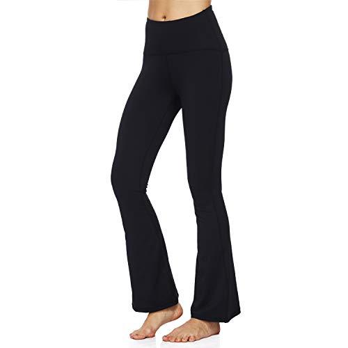 HMIYA Bootcut Yogahose, Flare Hose Fitness Joga Sporthose Damen(Schwarz,S)