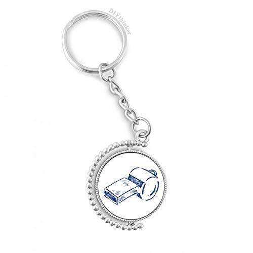 DIYthinker Mannen Cartoon Voetbal Fluitje Blauw Voetbal Draaibare Sleutelhanger Ring Sleutelhouder 1,2 inch x 3,5 inch Multi kleuren