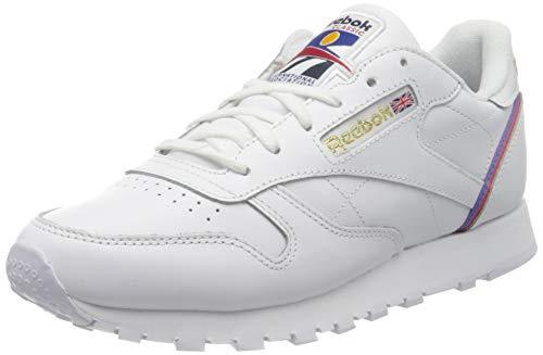 Reebok Womens CL LTHR Gymnastics Shoe, White/Radiant Red/Blue Blast, 38.5 EU