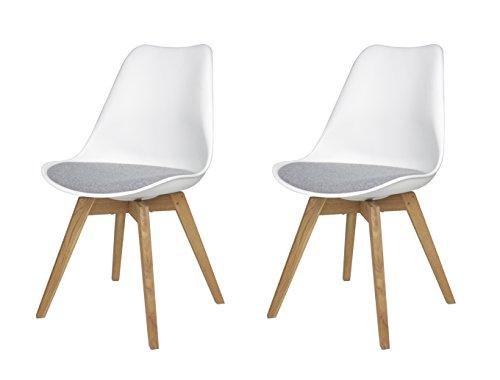 Tenzo 3317-413 Tequila 2-er set Designer Stühle Bess mit Stoffpad, 82 x 48 x 54 cm, weiß / grau / eiche