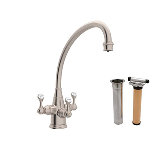 Find Bargain Rohl U.KIT1420LS-STN-2KIT ROHL PERRIN & ROWE FILTRATION ETRUSCAN THREE LEVER KITCHEN FA...