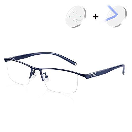Progressieve Multifocale Glazen Van De Lezing Voor Mannen Heinde En Verre Zicht Anti Blauw Licht Lenzen Optische Brillen Met Dioptrie 1,00-3,00,Blue,+1.00