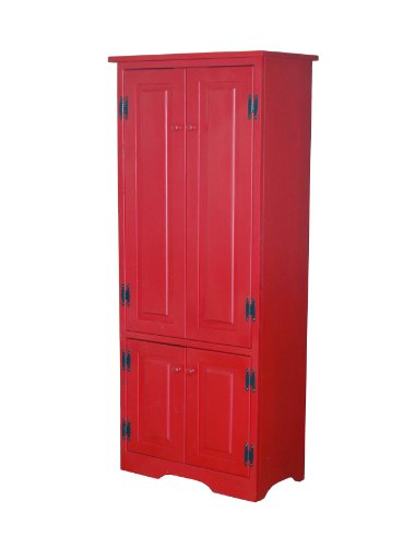 Target Marketing Systems Tall Storage Cabinet with 2 Adjustable Top Shelves and 1 Bottom Shelf, Red