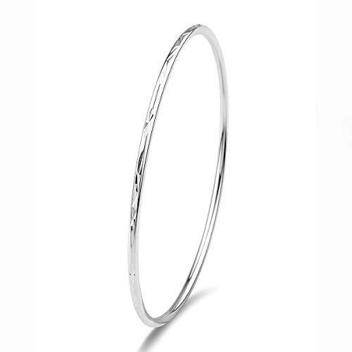 Merdia 925er Sterling Silber Armreif Armband Mit Einfachem Geschnitzten Blumenmuster - 7cm