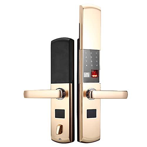 スライド式指紋ロック、家庭用の持ち上がり防止および盗難防止の入り口のスマートコードロック、電子IC磁気カード、アパートに適しています,Tyrant gold