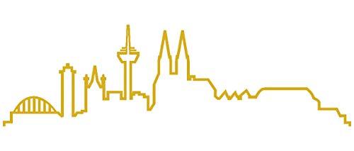 Samunshi® Köln Skyline Wandtattoo Silhouette in 6 Größen und 19 Farben (50x14,6cm goldmetalleffekt)