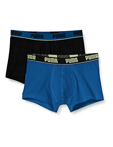 PUMA Herren Basic Trunks Badehose, Petrol Blue, M (2er Pack)
