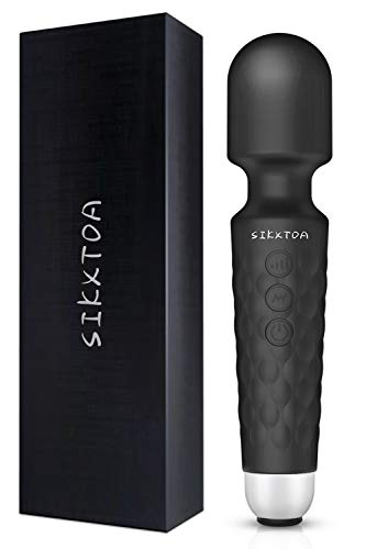 SIKXTOA Powerful Wand Massager with 20 Vibration Modes 8 Speeds, Wireless Handheld Waterproof Quiet Rechargeable Portable Personal Full Body Massager Relieve Muscle Stress Relaxing Body (Black)