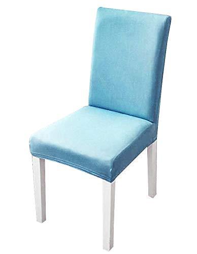 2 stretch stoelhoezen met rugleuning - elastisch - wasbaar - keuken - beschermend - thuis - eetkamer - 2 eenheden - meubels - lichtblauw - origineel cadeau-idee