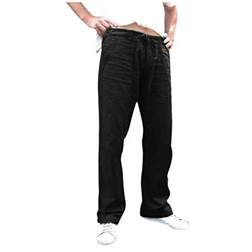 Minikimi Linnen herenbroek, groot formaat, zomerbroek, baggy, katoen, linnen met trekkoord comfortabel strand, casual lange broek