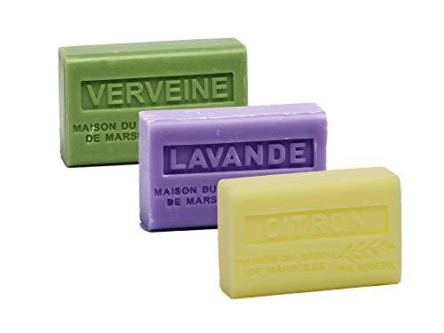 Maison du Savon de Marseille - 3er-Set Provence-Seifen mit Sheabutter - Verveine, Lavendel, Zitrone - 3 x 125 g