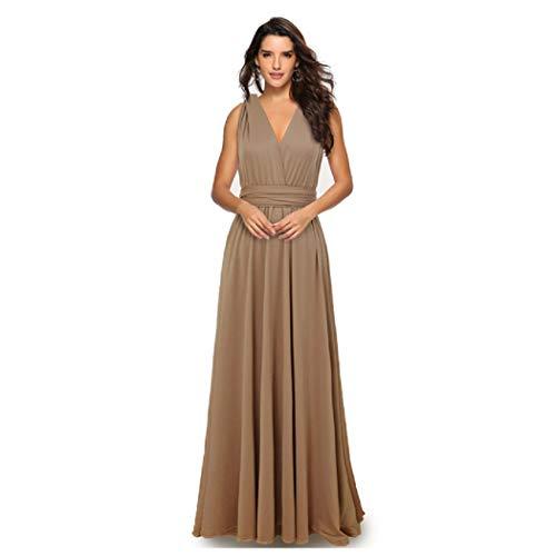 Infinity Kleid inklusive Bandeau Top Brautjungfernkleid Gr. 34-48 viele Farben Wickelkleid lang, 70 Verschiedene Wickelarten Brautkleid, Abendkleid Kleid lang Maxikleid (Braun/Beige, 1 (34-42))