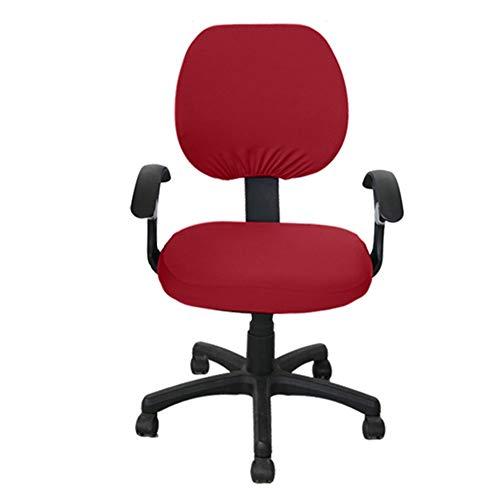 CLIUS Fodera per sedia da ufficio, 2 pezzi, girevole, elastica, lavabile, di ricambio, per soggiorno, split Square sedili posteriori rimovibili, protezione universale solida (rosso vino)