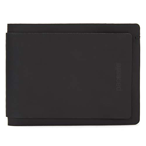 Pacsafe RFIDsafe TEC Bifold Wallet Plus für bis zu 13 Kreditkarten, 7 Easy Access Steckfächer, Portemonnaie mit Anti-Diebstahl Schutz, schmaler PU Geldbeutel, Geldbörse mit RFID, Schwarz/Grau