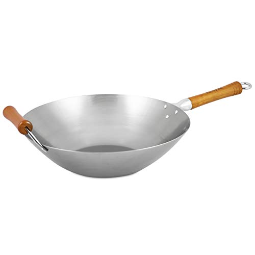 Ken Hom Excellence KH436003 Wok Traditionnel en Acier Carbone, ø36 cm, Compatible Induction, Gris
