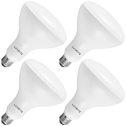 Luxrite BR40 LED Light Bulbs, 85W Equivalent, 5000K Bright White, Dimmable, 1100 Lumens, LED Flood Light Bulb, 14W, E26 Medium Base, Indoor/Outdoor - Perfect for Office and Recessed Lighting (4-Pack)