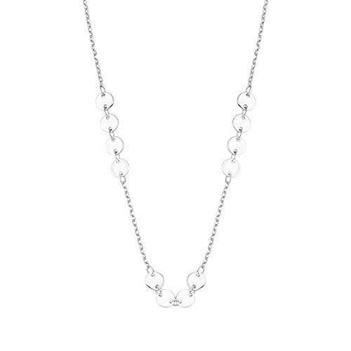 amor Collier für Damen mit Coin-Anhänger, glänzendes Silber 925
