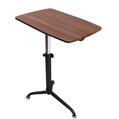 XIA Table d'ordinateur portable avec roulette Bureau d'étude Lazy réglable en hauteur 62 * 38cm (L * W) (Couleur : Yellow Oak)