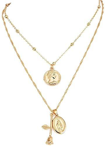 Collana Donna Vintage Collana a catena con ciondolo rosa Collana in oro multistrato con clavicola Accessori per gioielli