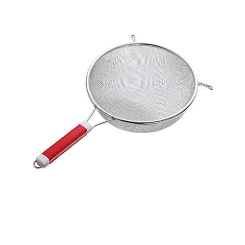 Coladores Mango Grado Profesional colador de cocina que cocina Filtro Fino araña colador con estructura reforzada y agarre de goma duradero (acero inoxidable) Fácil Limpieza (Size : M)