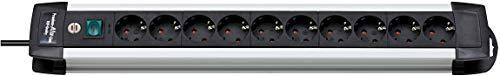 Brennenstuhl Premium-Alu-Line, Steckdosenleiste 10-fach - Steckerleiste aus hochwertigem Aluminium (mit Schalter und 3m Kabel, Made in Germany) silber/schwarz