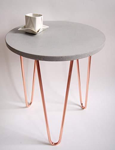 Ofstellen Betontisch - kleiner Beistelltisch aus Beton mit Stahlrohrgestell in den Farben rosegold, schwarz und pastell türkis