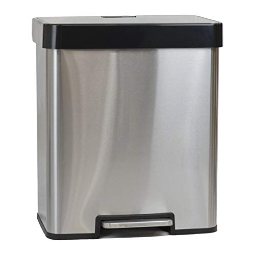 Calitek Recycling Bin 40 litres with 2 Compartment Kitchen Pedal Bin 2 x 20 L Waste Separation System with Soft Close Lid Fingerprint Proof and Removable Inner Bucket (Stainless Steel)