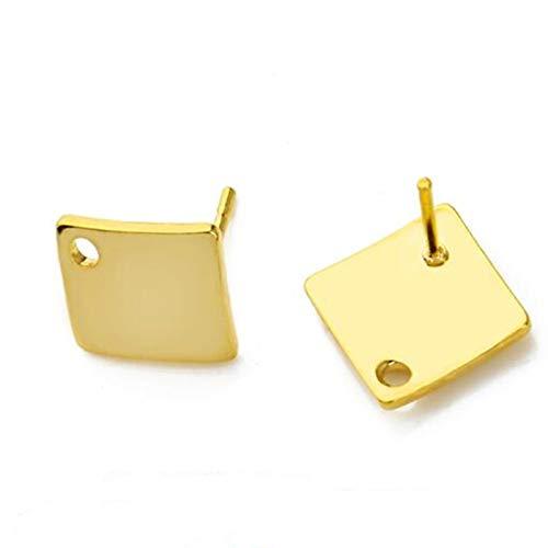 MURUI 20 unids Poligonal Acero Inoxidable Pendiente de Oro espárrago Gancho de Gancho Base DIY Hombre Mujer Pendiente joyería Haciendo hallazgos Accesorios YC0322 (Color : 4 Gold)