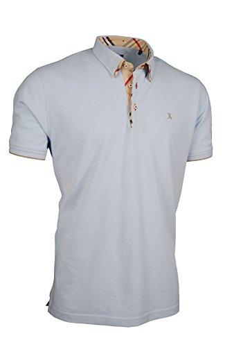 Premium-Poloshirt von Giorgio Capone, einzigartiger Hemdkragen, Pique-Stoff 100% Baumwolle, hellblau, Regular Fit (L)