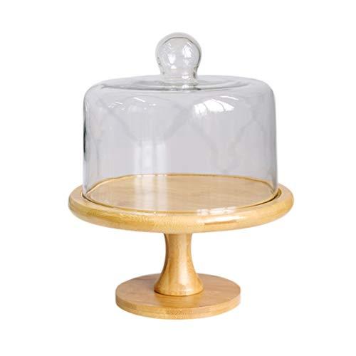 Qilo Soporte para Tartas Soporte de Pastel Reutilizable de Madera, Bandeja de Pastel con cúpula de Pastel de Vidrio, Plato de la porción Multifuncional, Soporte para Pasteles, Ensalada, Plato, Bollo,