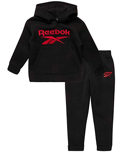 Reebok Boys' 2-Piece Athletic Fleece Tracksuit Set with Zip Up Jacket and Jog Pants (Infant/Toddler), Size 12 Months, Black/Red