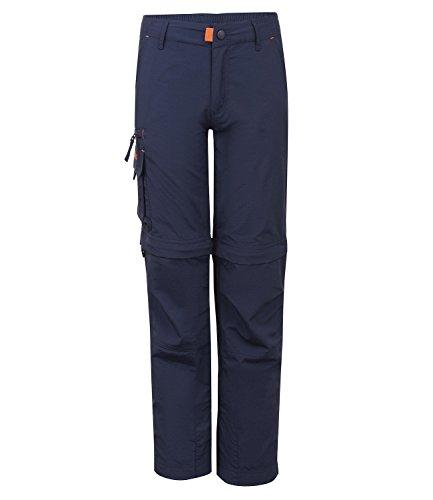 Trollkids Quick-Dry Zip-Off Hose Oppland Slim Fit, Marineblau/Orange, Größe 140