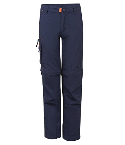Trollkids Quick-Dry Zip-Off Hose Oppland Slim Fit, Marineblau/Orange, Größe 140