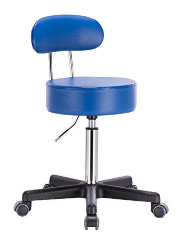 1stuff® Profi Rollhocker Bürohocker mit Lehne - Squash BACKLIKE -bis 180kg -bis 72cm -Rollen gebremst - Drehhocker Arzthocker Arbeitshocker Praxishocker (blau)