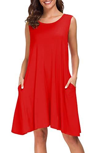 Afibi Women Summer Sleeveless Casual T Shirt Dresses Loose Beach Cover Up Tank Dress (X-Large, Red)