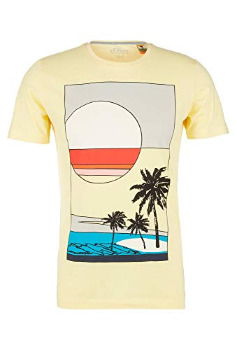 s.Oliver Herren 130.10.005.12.130.2037529 T-Shirt, Light Yellow Beach Print, S
