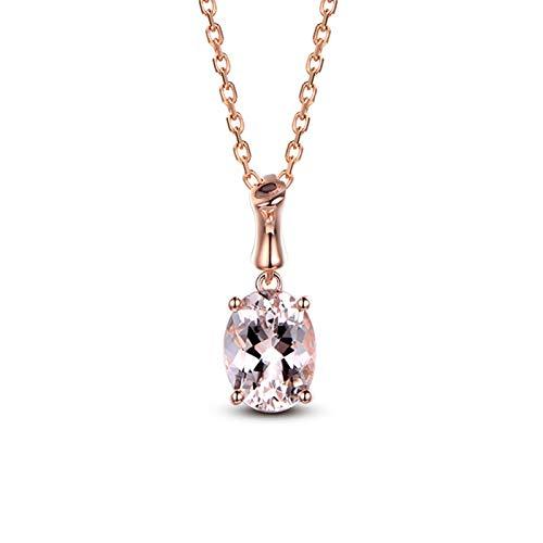 AnazoZ Collares Mujer Boda Plata Rosa Collar Cadena Oro Rosa 18K Mujer Collar Oval con 4 Garras Morganita Rosa 1.26ct