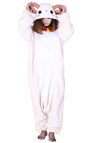 Unisex Animal Pijama Ropa de Dormir Cosplay Kigurumi Onesie Ovejas Disfraz para Adulto Entre 1,40 y 1,87 m
