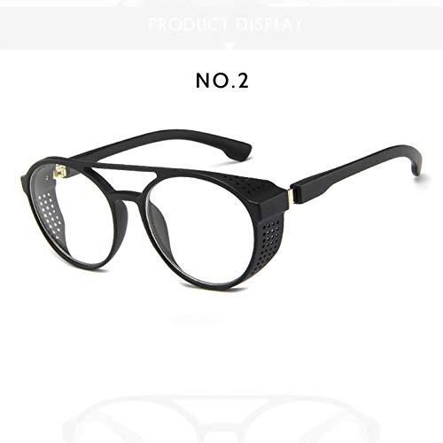 Steampunk zonnebril Vrouwen Mannen Retro Goggles Ronde Flip Up Bril stoom punk Vintage Mode Wenkbrauw goggle Oculos de sol Transparant