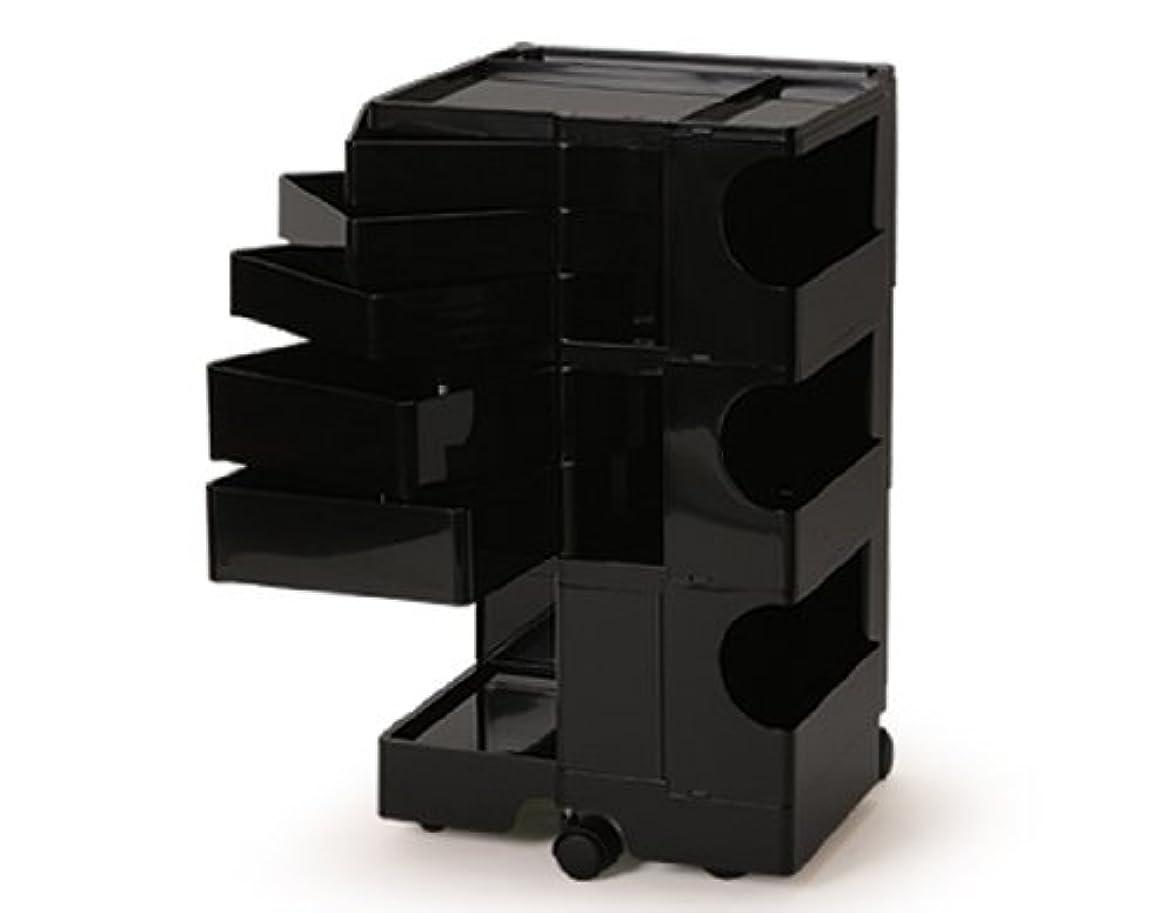 むき出しジュースアルバニーB-LINE/ビーライン ボビーワゴン 3段5トレイ ブラック キャスター付ワゴン インテリア サイドワゴン キッチンワゴン デザイナーズ家具