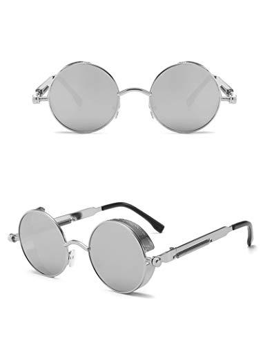 ShSnnwrl Único Gafas de Sol Sunglasses Gafas De Sol Steampunk Góticas Redondas De Metal Hombres Mujeres Gafas De Moda Diseñador D