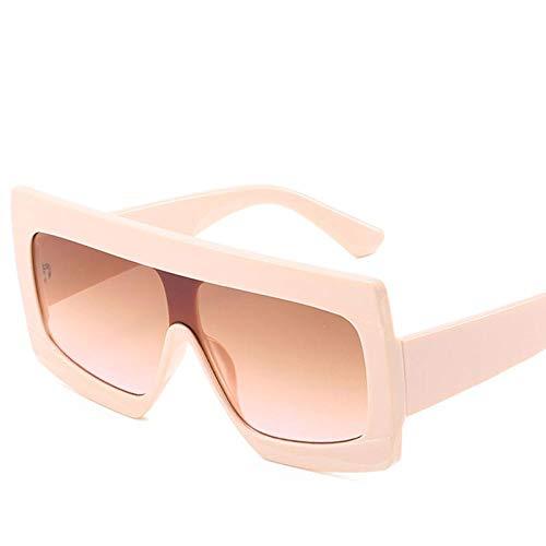 Gafas de Sol cuadradas de Gran tamaño para Mujer Lente degradada Hombre Gafas de Estilo Plano con Parte Superior Negra