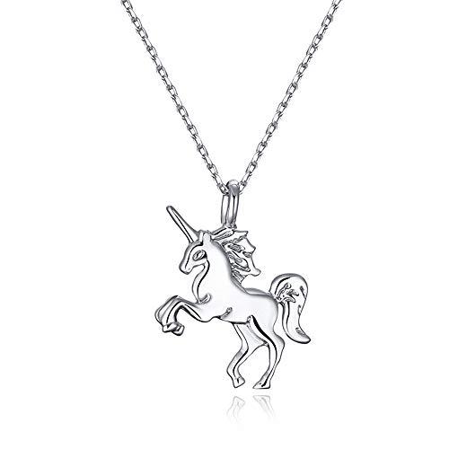 Collar Unicornio Plata 925 amistad, cadena de plata Colgante los Unicornios Regalos para niñas y mujer, Mejores Amigas y bff Collares. En forma de caballo Best Friends Unicorn Necklace with Gift box